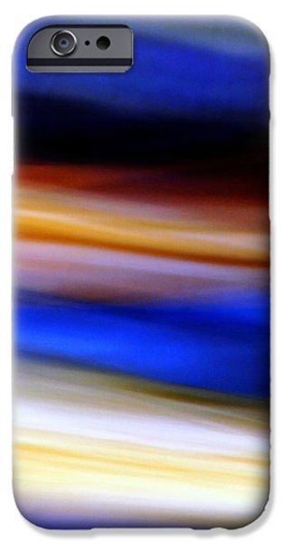Blue Abstracts iPhone Cases - Blue and Yellow Abstract iPhone Case by Karin Kohlmeier