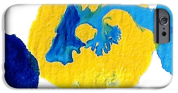 Abstract Forms Mixed Media iPhone Cases - Blue and yellow Interactions A iPhone Case by Amy Vangsgard