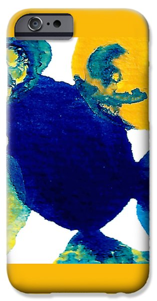 Abstract Forms Mixed Media iPhone Cases - Blue and yellow Interactions B iPhone Case by Amy Vangsgard
