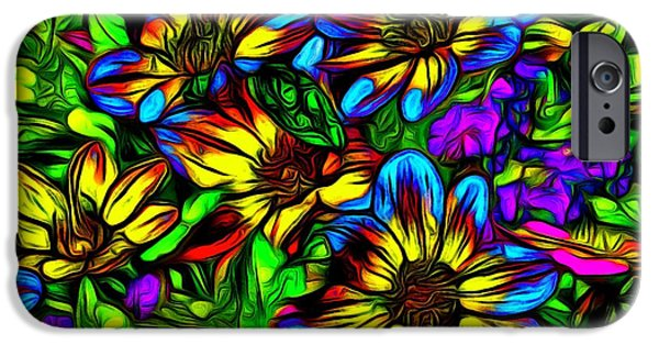 Nature Abstracts iPhone Cases - Blue and Yellow Wildflowers iPhone Case by Jean-Marc Lacombe