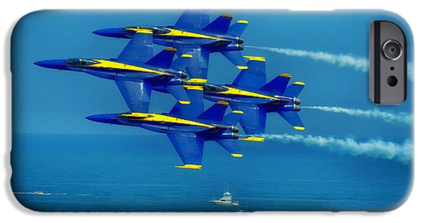 Angel Blues iPhone Cases - Blue Angels Flyover iPhone Case by Skeeze