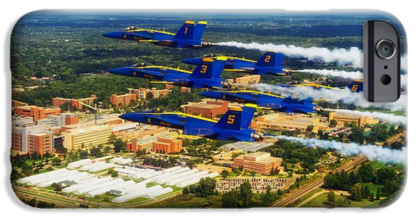 Buildings iPhone Cases - Blue Angels Over Michigan State University iPhone Case by Andrea Perez