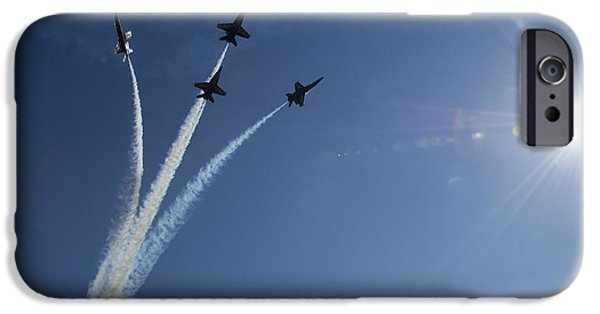 Angel Blues iPhone Cases - Blue Angels performs a diamond formation iPhone Case by Celestial Images