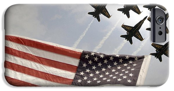 Angel Blues iPhone Cases - Blue Angels soars over Old Glory as they perform the Delta Formation iPhone Case by Celestial Images