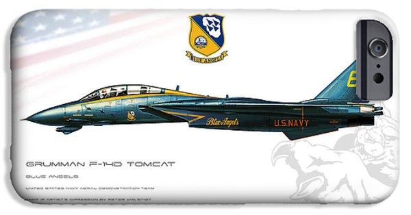 Wwi iPhone Cases - Blue Angels Tomcat Profile iPhone Case by Peter Van Stigt