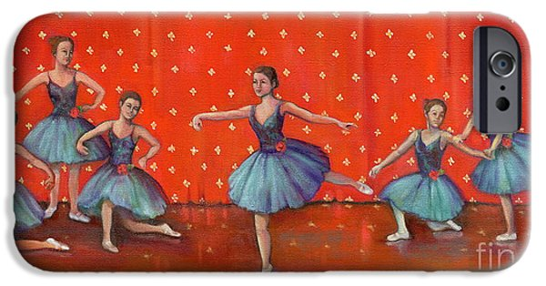 Dance Ballet Roses iPhone Cases - Blue Ballerinas iPhone Case by Marlene Book