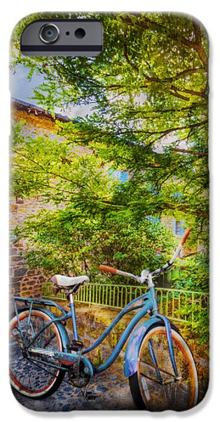 Racing iPhone Cases - Blue Bicycle iPhone Case by Debra and Dave Vanderlaan