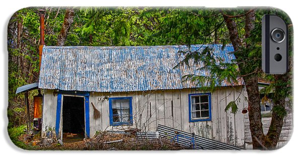 Cabin Window Digital iPhone Cases - Blue Bicycle in Forest iPhone Case by Jim Robbins