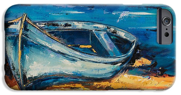 Beautiful Scenery Paintings iPhone Cases - Blue Boat on the Mediterranean Beach iPhone Case by Elise Palmigiani