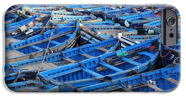 East Village iPhone Cases - Blue Boats of Essaouira iPhone Case by Ramona Johnston