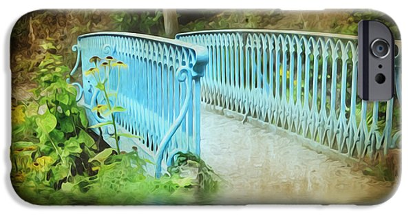 Garden Scene Digital iPhone Cases - Blue Bridge iPhone Case by Svetlana Sewell