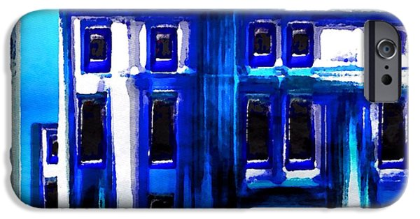 Buildings Mixed Media iPhone Cases - Blue Buildings iPhone Case by Mark Taylor