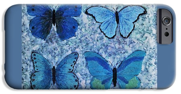 Fabulous Gifts iPhone Cases - Blue Butterflies iPhone Case by Jasna Gopic