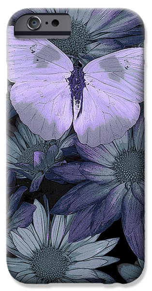 Butterflies Paintings iPhone Cases - Blue Butterfly iPhone Case by JQ Licensing