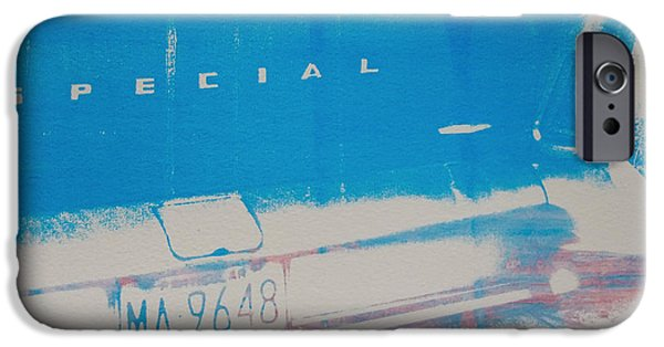 Screen Print iPhone Cases - Blue Car iPhone Case by David Studwell