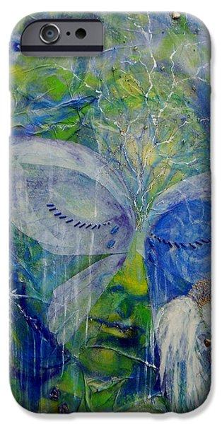 Angel Blues iPhone Cases - Blue iPhone Case by Caroline Czelatko