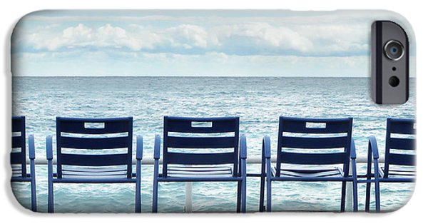 D.c. iPhone Cases - Blue chairs iPhone Case by Natalia Shcherbakova