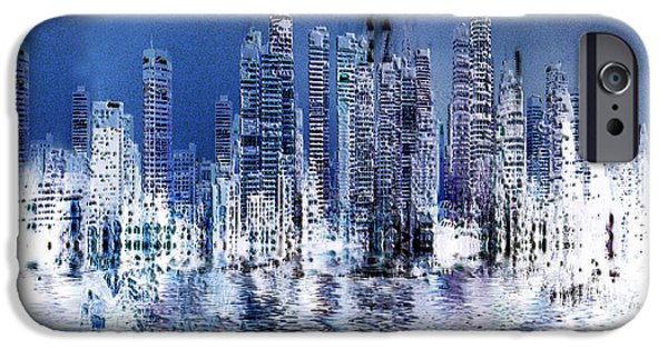 Buildings Mixed Media iPhone Cases - Blue city iPhone Case by Stuart Turnbull