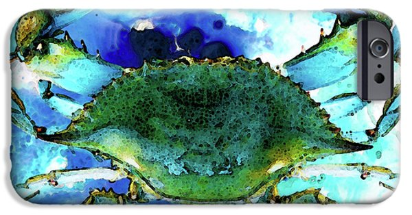 Creature iPhone Cases - Blue Crab - Abstract Seafood Painting iPhone Case by Sharon Cummings