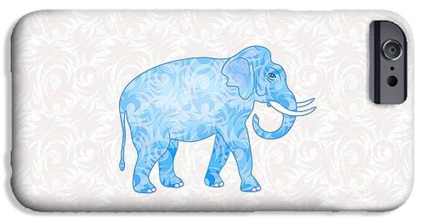 Elephants Digital iPhone Cases - Blue Damask Elephant iPhone Case by Antique Images