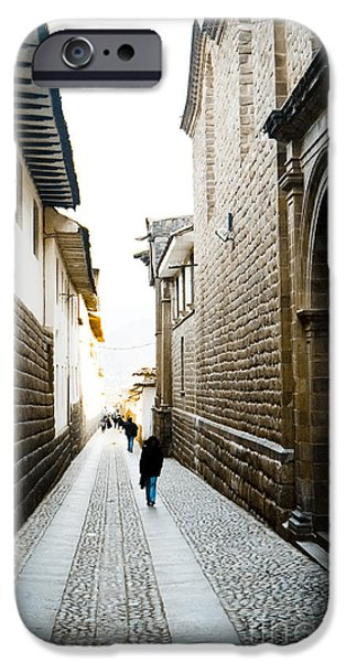 35mm iPhone Cases - Blue Door in Cusco iPhone Case by Darcy Michaelchuk