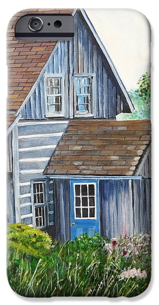 Cabin Window iPhone Cases - Blue Door iPhone Case by Marilyn  McNish