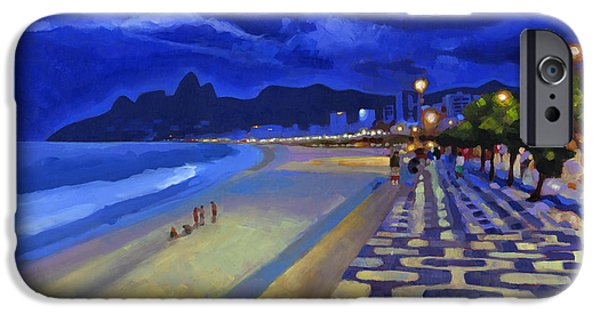 Brasil iPhone Cases - Blue Dusk Ipanema iPhone Case by Douglas Simonson