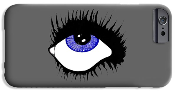 Torn iPhone Cases - Blue Eye iPhone Case by Daniel P Cronin