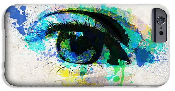 Concept Digital Art iPhone Cases - Blue eye watercolor iPhone Case by Delphimages Photo Creations