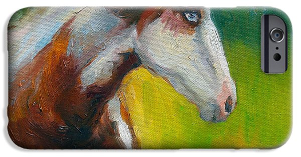 Paint Horse iPhone Cases - Blue-eyed Paint Horse oil painting print iPhone Case by Svetlana Novikova