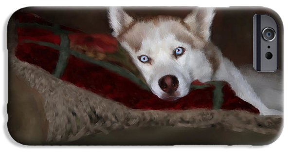 Dog Mixed Media iPhone Cases - Blue Eyes iPhone Case by Colleen Taylor