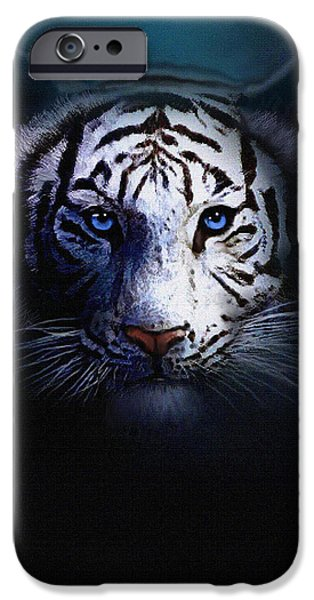 Tiger Digital Art iPhone Cases - Old Blue Eyes iPhone Case by Robert Foster