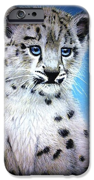 Snow Pastels iPhone Cases - Blue Eyes iPhone Case by Rosanna Maria