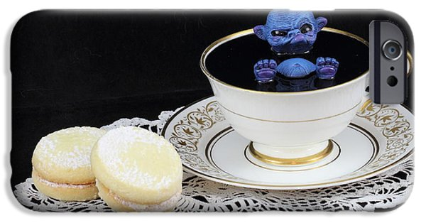 Michael Sculptures iPhone Cases - blue Fairy bathing in a teacup iPhone Case by Voodoo Delicious