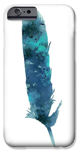 Blue Abstracts Jewelry iPhone Cases - Blue feather giclee print iPhone Case by Joanna Szmerdt