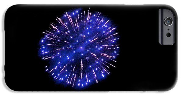 July 4th iPhone Cases - Blue Firework iPhone Case by Shelly Dixon