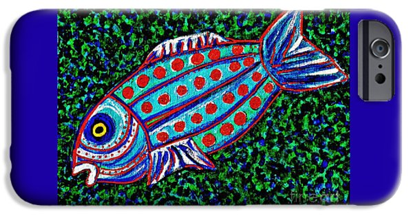 Fanciful iPhone Cases - Blue Fish iPhone Case by Sarah Loft
