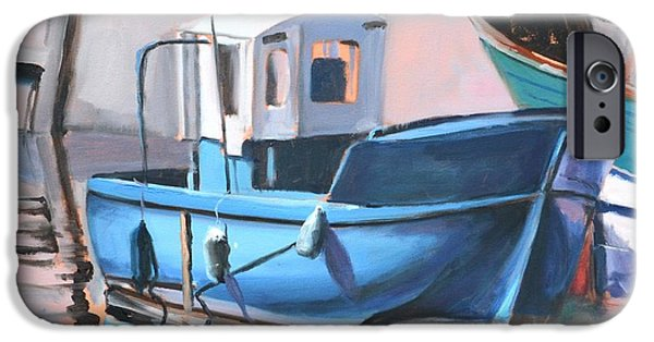 Marine iPhone Cases - Blue Fishing Boat iPhone Case by Donna Tuten
