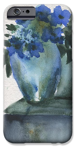 Nature Abstract iPhone Cases - Blue Flowers Blue Vase iPhone Case by Frank Bright