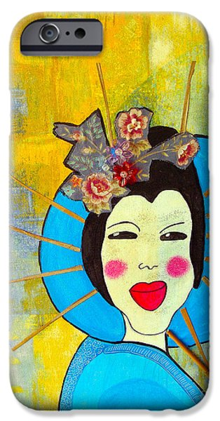Concubines Paintings iPhone Cases - Blue Geisha iPhone Case by Kim Magee ART