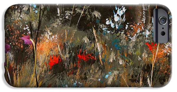 Recently Sold -  - Red Abstract iPhone Cases - Blue Grass And Wild Flowers iPhone Case by Ruth Palmer