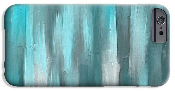 Light Blue Abstracts iPhone Cases - Blue Gray Art iPhone Case by Lourry Legarde