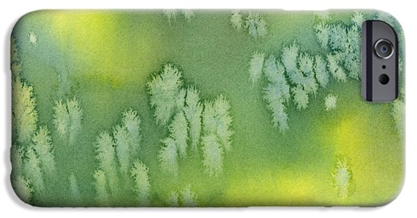 Cushions iPhone Cases - Blue Green and Yellow Abstract Watercolor Design 2 iPhone Case by Sharon Freeman