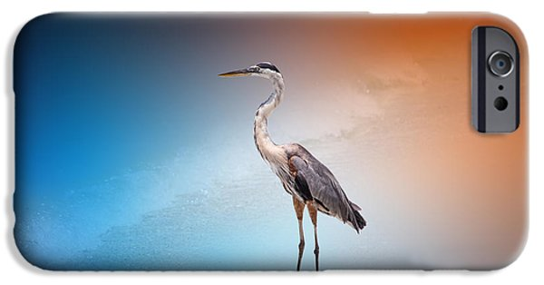 Flying Seagull iPhone Cases - Blue Heron 46 by Darrell Hutto iPhone Case by Darrell Hutto