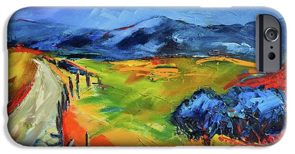 Italian Landscape iPhone Cases - Blue Hills iPhone Case by Elise Palmigiani