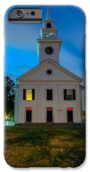 Boston Ma iPhone Cases - Blue Hour at the Church iPhone Case by Brian MacLean