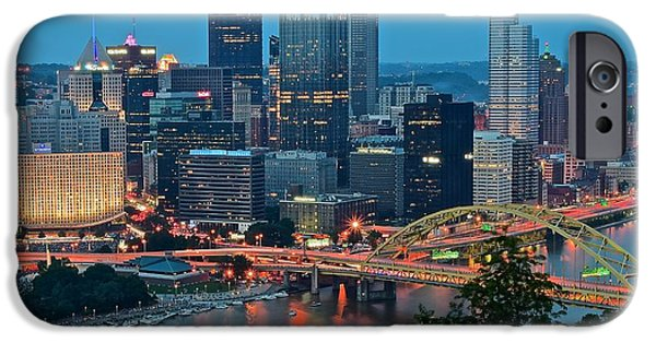 Roberto iPhone Cases - Blue Hour in Pittsburgh iPhone Case by Frozen in Time Fine Art Photography