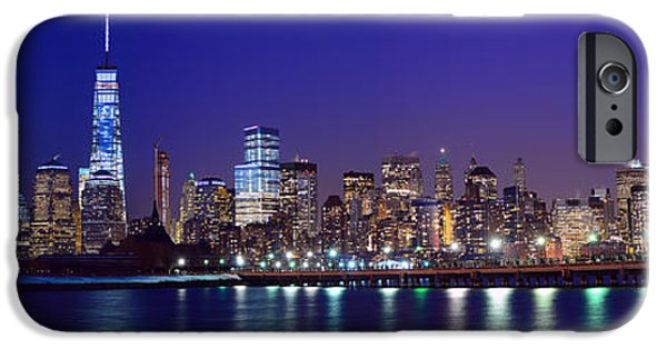 Freedom iPhone Cases - Blue Hour Panorama New York World Trade Center with Freedom Tower from Liberty State Park iPhone Case by Raymond Salani III