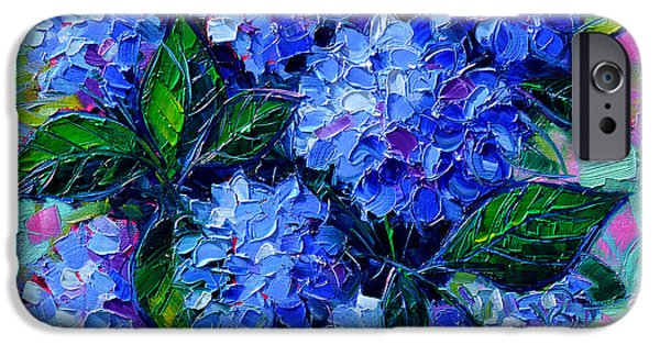 Colorful Abstract iPhone Cases - Blue Hydrangeas - Abstract Floral Composition iPhone Case by Mona Edulesco