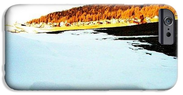 Switzerland Tapestries - Textiles iPhone Cases - Blue ice iPhone Case by Nila  Poduschco